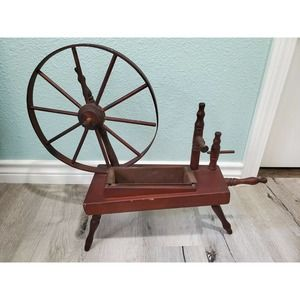 Vintage Spinning Sewing Spindle Wheel Wood Decor